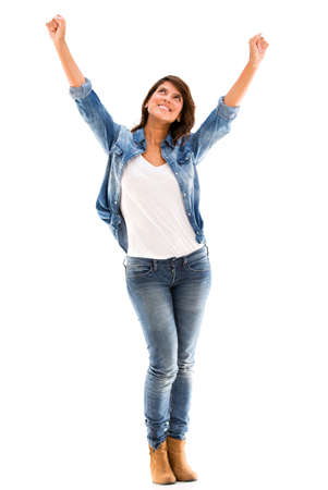 Excited woman with arms up - isolated over a white background Stock Photo - 17482222