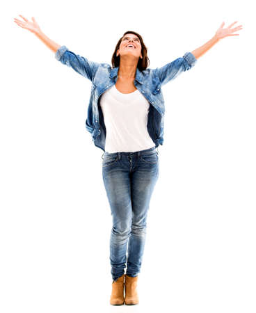 Happy woman with arms up - isolated over a white background Stock Photo - 17482216