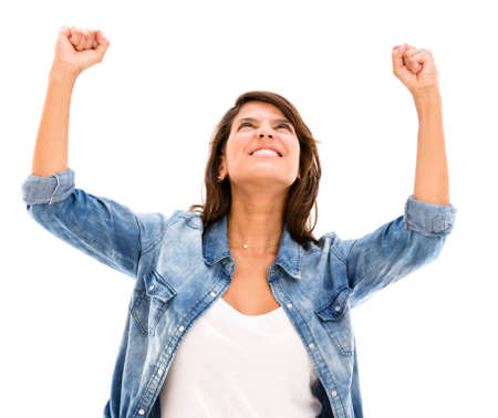 Successful woman celebrating her triumph - isolated over white Stock Photo - 17482212