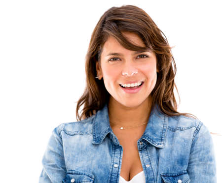 Casual woman smiling  - isolated over a white background Stock Photo - 17482226