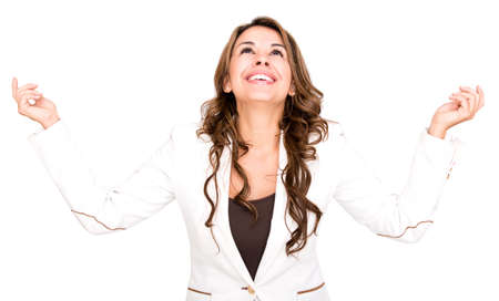 Successful business woman looking up - isolated over a white Stock Photo - 17482223