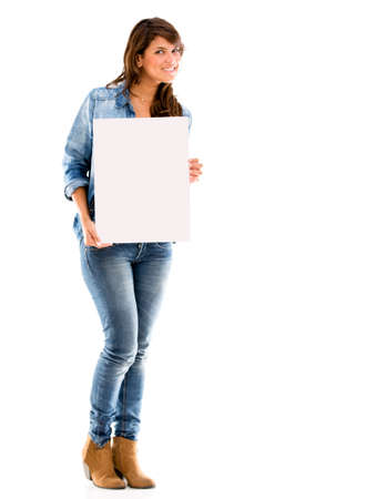 Woman holding a poster - isolated over a white background Stock Photo - 17505119