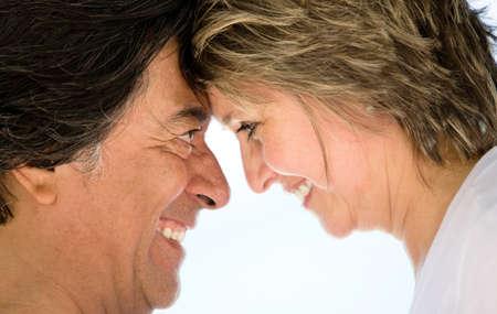 eskimo woman: Closeup portrait of a loving couple smiling