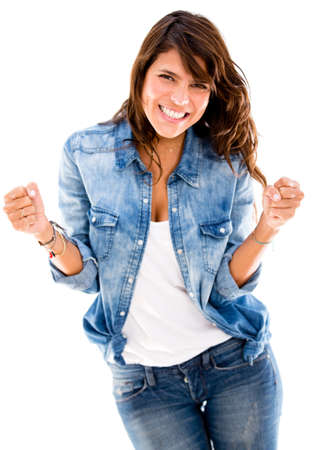 Successful woman looking very happy - isolated over a white backgorund Stock Photo - 17529771
