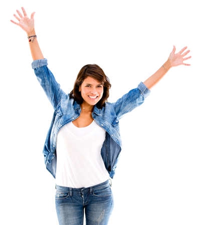 Happy woman with arms up - isolated over a white background photo