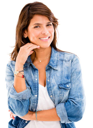 Beautiful casual woman looking happy - isolated over a white backgorund Stock Photo - 17573020