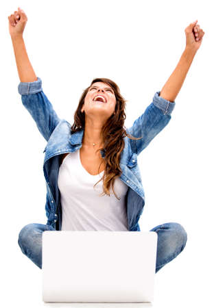 Successful woman online - isolated over a white background photo