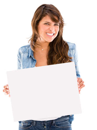 Excited woman displaying a banner - isolated over a white background Stock Photo - 17620758