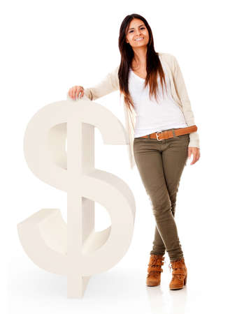 Woman with a dollar symbol - isolated over a white background Stock Photo - 17620657