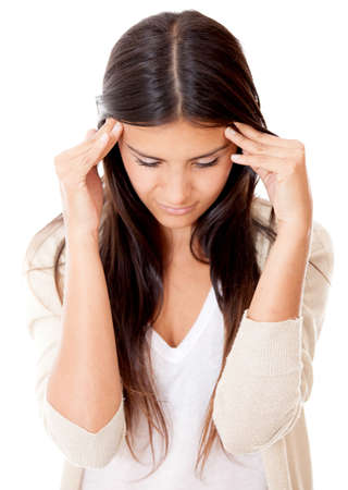 Worried woman with a headache - isolated over a white background photo