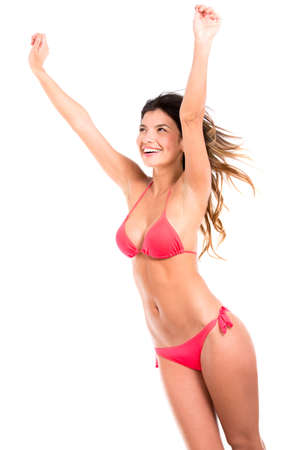 Happy summer woman in bikini - isolated over a white background Stock Photo - 17679818