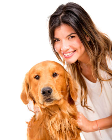 Happy woman with a beautiful dog - isolated over white Stock Photo - 17679801
