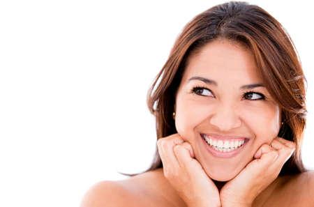 lachendes gesicht: Gl�ckliche Frau nachdenklich - �ber einen wei�en Hintergrund isoliert