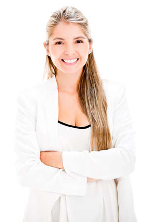 Casual business woman smiling - isolated over a white background Stock Photo - 17680008