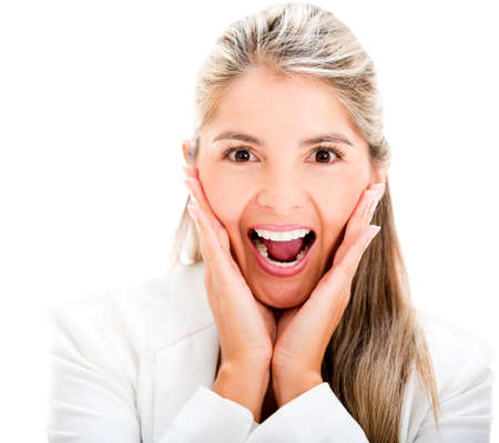 woman screaming: Surprised business woman screaming - isolated over a white background