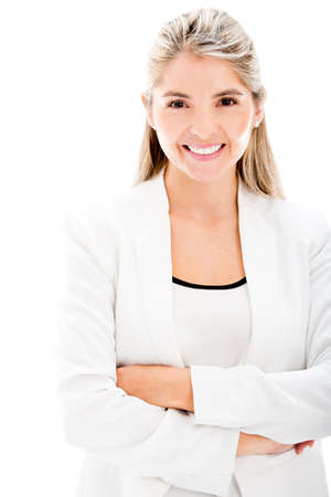 Happy businesswoman smiling - isolated over a white backgorund Stock Photo - 17679913
