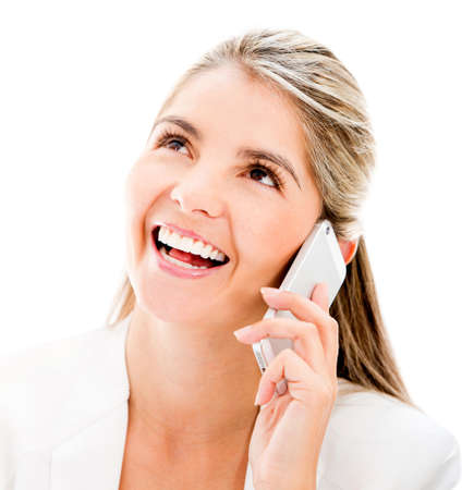 Business woman talking on the phone - isolated over white Stock Photo - 17679841