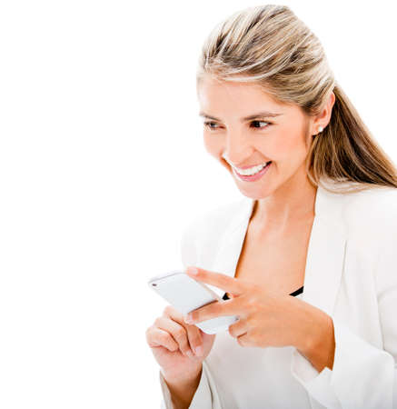 Woman sending a text message - isolated over a white background Stock Photo - 17679885
