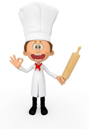 3D chef looking happy - isolated over a white background photo