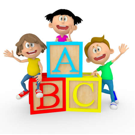 3D kids with ABC cubes looking happy - isolated over white photo