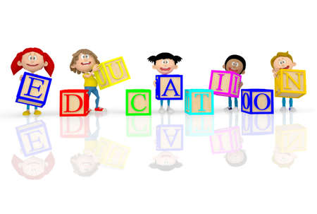 3D kids spelling education with ABC cubes - isolated over white photo