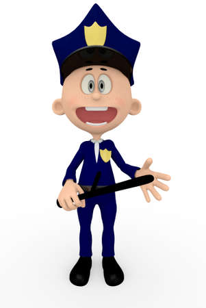 3D police man - isolated over a white background photo