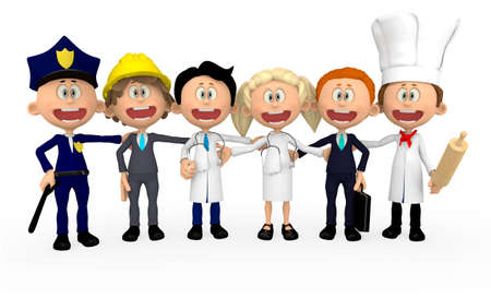 3D group of workers in different professions - isolated photo