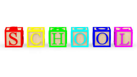 3D toy cubes with letters spelling school Ð isolated photo