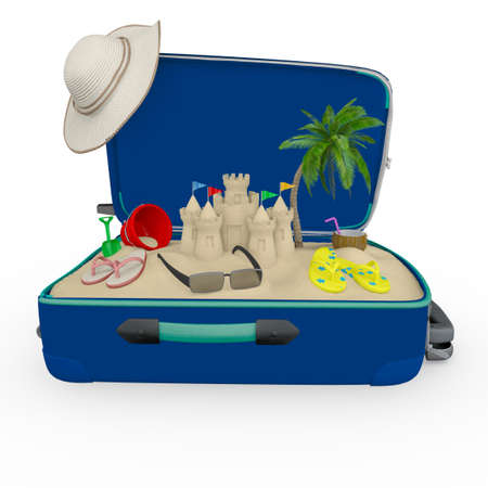 over packed: 3D travel bag packed for the summer - isolated over white Stock Photo