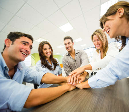 corporate team: Group of business people at the office