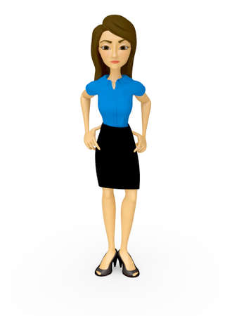 authoritarian: 3D Bossy businesswoman - isolated over a white background