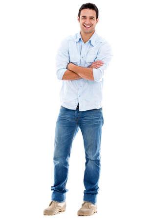 beau jeune homme: Heureux homme occasionnel souriant - isol� sur un fond blanc Banque d'images