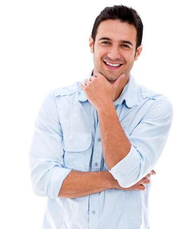 hombre: Hombre guapo sonriendo mirando muy feliz - aislado sobre blanco Foto de archivo