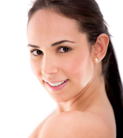 Beauty female portrait smiling - isolated over a white background Stock Photo - 17861492