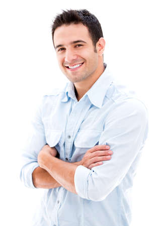 jovenes: Casual hombre guapo sonriendo - aislados en un fondo blanco