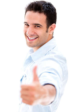 Happy man with thumbs up - isolated over a white background photo