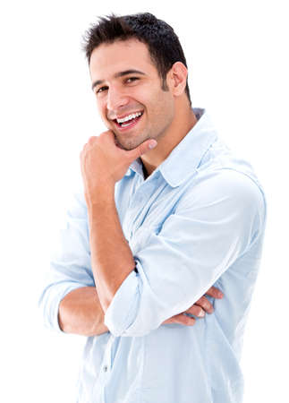 Happy casual man smiling - isolated over a white background photo