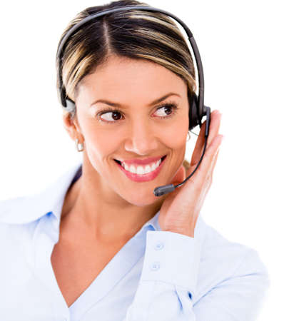 Friendly customer support operator - isolated over a white background photo