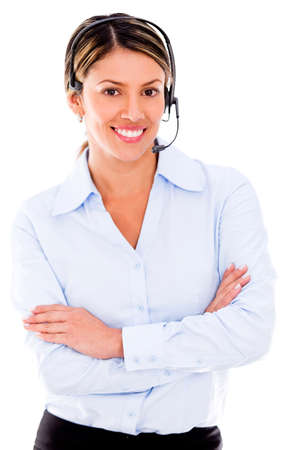 Happy call center operator - isolated over a white background photo