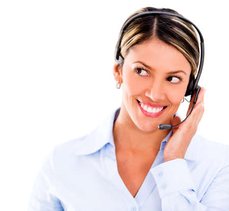 Telemarketing operator - isolate dover a white background photo