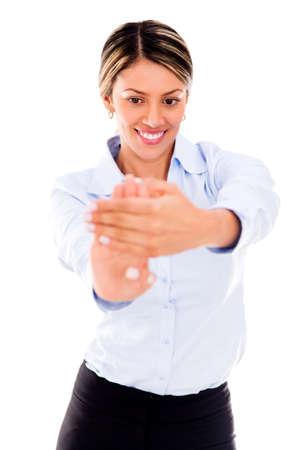 carpal tunnel: Businesswoman stretching her hand to avoid carpal tunnel syndrome Stock Photo