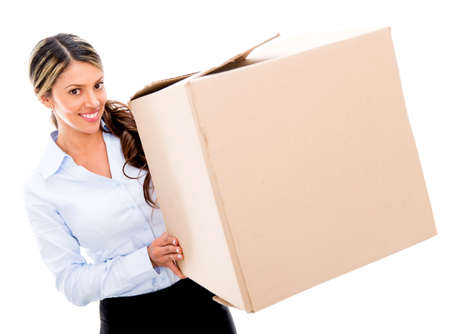 Business woman moving and a carrying cardboard box - isolated photo