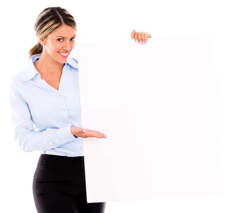 Businesswoman displaying a banner ad - isolated over white Stock Photo - 18037941