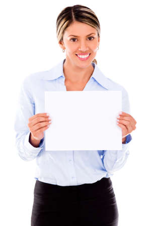 Business woman holding a banner - isolated over a white background Stock Photo - 18037983
