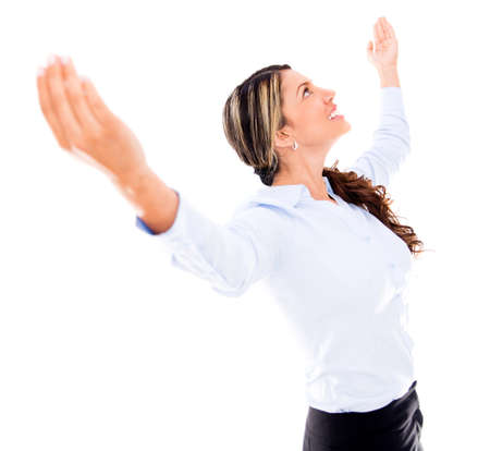 Successful business woman with arms up - isolated over white Stock Photo - 18037955