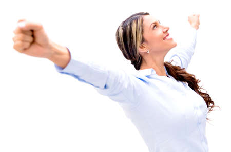 Business woman celebrating with arms up - isolated over white Stock Photo - 18037976