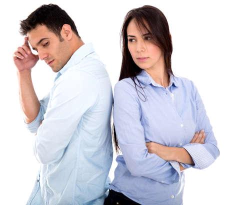 divorcio: Angry lucha pareja - aislados en un fondo blanco Foto de archivo