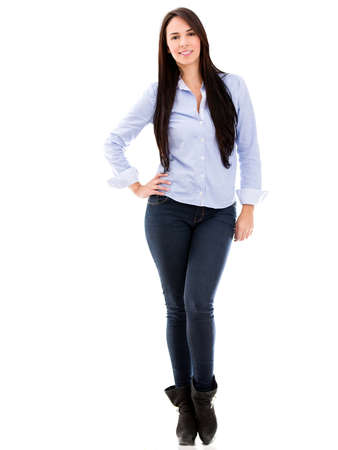 Beautiful casual woman smiling - isolated over a white background Stock Photo - 18024492
