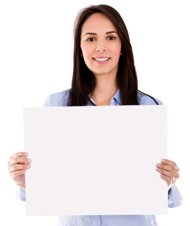 Woman with a banner - isolated over a white background Stock Photo - 18024490