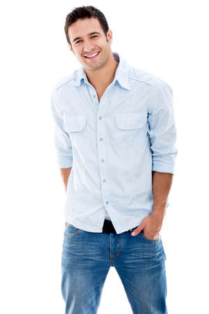 Casual man smiling - isolated over a white background photo